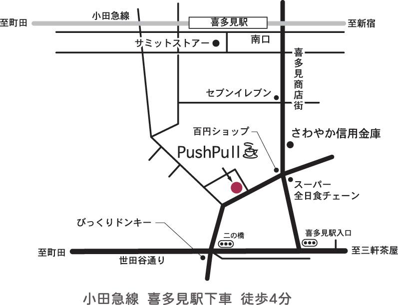 世田谷区 喜多見 カフェプッシュプルの地図